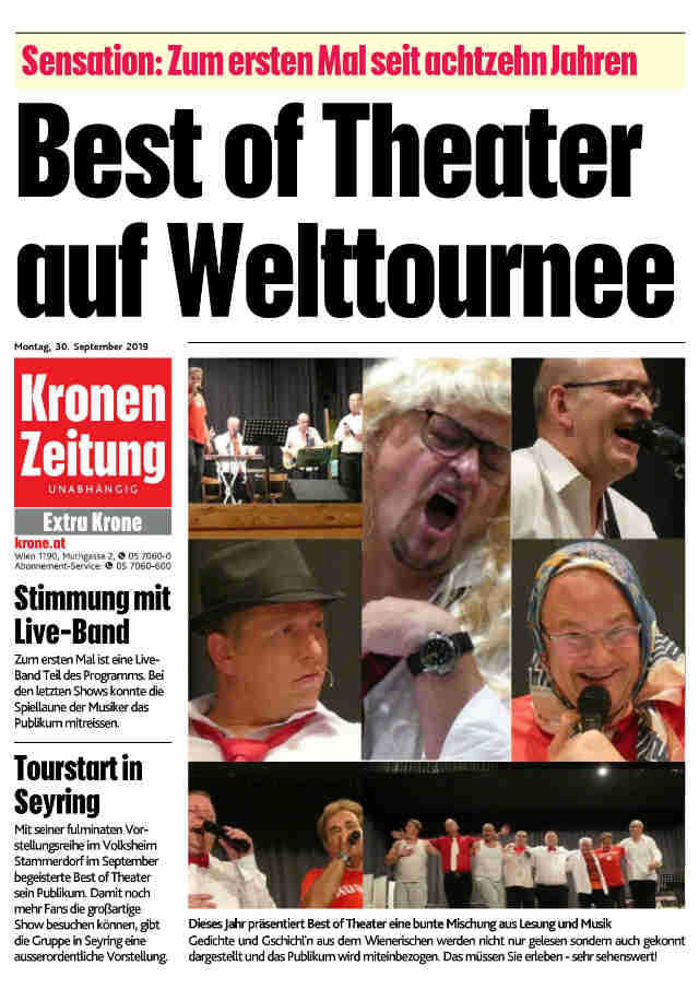 Sensationsmeldung in der Extra Krone im September 2019
